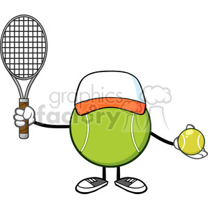 10304 tennis ball faceless player cartoon mascot character with hat holding a tennis ball and racket vector illustration isolated on white background clipart. Royalty-free image # 399993