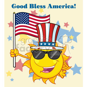 cute sun cartoon mascot character with sunglasses and patriotic hat holding an american flag vector illustration with background text good bless america clipart. Royalty-free image # 400033