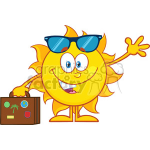 10158 smiling summer sun cartoon mascot character with sunglasses carrying luggage and waving vector illustration isolated on white background clipart. Royalty-free image # 400043