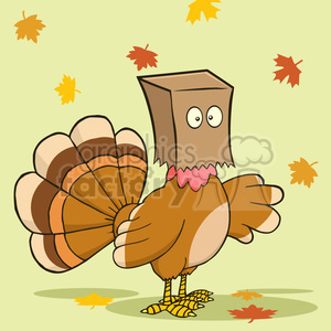 turkey bird hiding under a bag vector illustration with background clipart. Royalty-free image # 400053