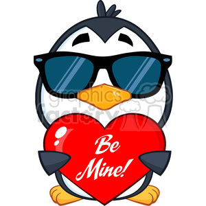cute penguin cartoon character wearing sunglasses and holding a be mine valentine heart vector illustration isolated on white clipart. Royalty-free image # 400063