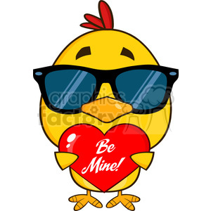 cute yellow chick with sunglasses cartoon character holding a be mine valentine love heart vector illustration isolated on white clipart. Commercial use image # 400073