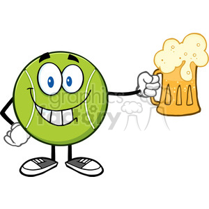 smiling tennis ball cartoon character holding a beer vector illustration isolated on white clipart. Royalty-free image # 400083