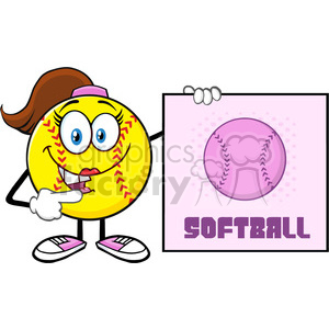 talking softball girl cartoon mascot character pointing to a sign with text softball vector illustration isolated on white background clipart. Royalty-free image # 400093