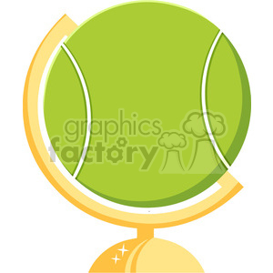 cartoon tennis ball desk globe vector illustration flat style isolated on white