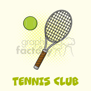 tennis ball and racket vector illustration with background and text tennis club clipart. Royalty-free image # 400133