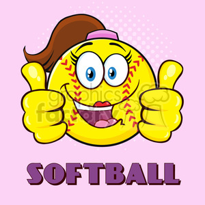 cute softball girl cartoon character giving a double thumbs up vector illustration with pink halfone background and text softball clipart. Royalty-free image # 400143