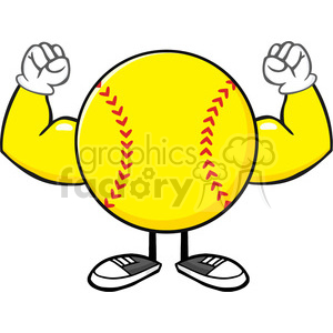 softball faceless cartoon mascot character flexing vector illustration isolated on white background clipart. Commercial use image # 400153