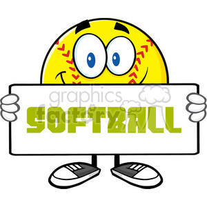 smiling softall cartoon mascot character holding a sign vector illustration with text softball isolated on white background clipart. Royalty-free image # 400163