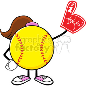 softball girl faceless cartoon mascot character wearing a foam finger vector illustration isolated on white background clipart. Royalty-free image # 400173