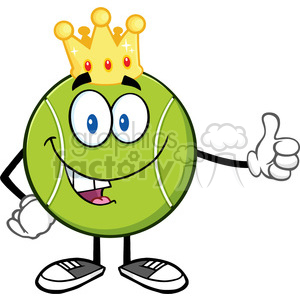 king tennis ball cartoon mascot character with golden crown giving a thumb up vector illustration isolated on white clipart. Commercial use image # 400183