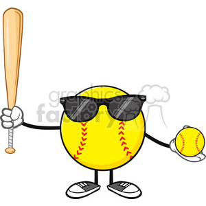softball faceless player cartoon mascot character with sunglasses holding a bat and ball vector illustration isolated on white background clipart. Royalty-free image # 400203
