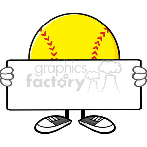10339 softball faceless cartoon mascot character holding a blank sign vector illustration isolated on white background clipart. Royalty-free image # 400213