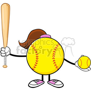 softball girl faceless cartoon mascot character holding a bat and ball vector illustration isolated on white background clipart. Royalty-free image # 400223