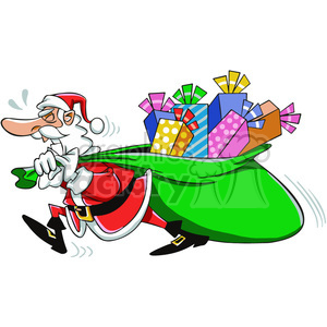 santa pulling a huge bag of gifts cartoon clipart. Royalty-free image # 400376