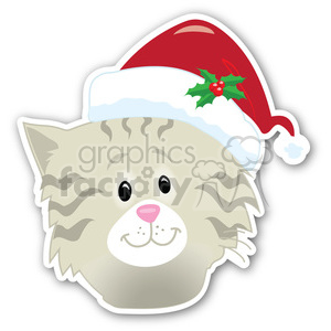 christmas cat head with shadow sticker clipart. Commercial use image # 400427