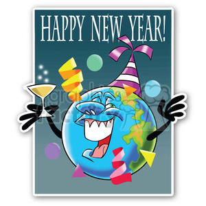 new year earth sticker clipart. Royalty-free image # 400454