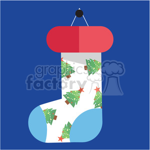 cartoon christmas stocking on blue square with christmas trees vector flat design clipart. Royalty-free image # 400510