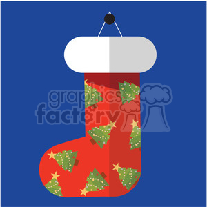 red christmas stocking on blue square with christmas trees vector flat design clipart. Commercial use image # 400520