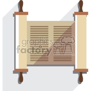 jewish torah scroll flat vector art icon no background with shadow clipart. Commercial use image # 400590