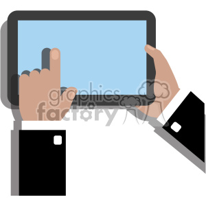 hands holding ipad surface device flat design vector art no background black coat clipart. Royalty-free image # 400640
