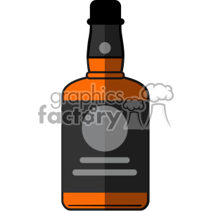vector whiskey bottle flat design icon with round label