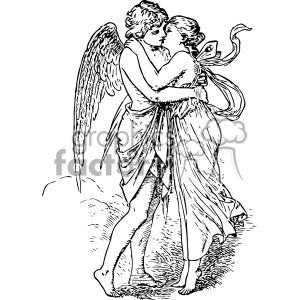 vintage retro old black+white angels kissing valentines valentines+day