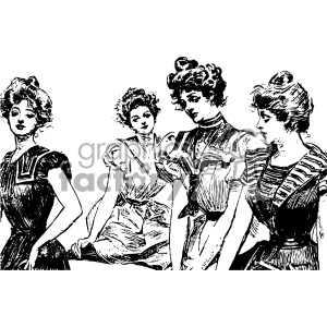 group of vintage woman vintage 1900 vector art GF
