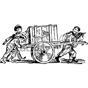 kids pushing cart carrying a crate vintage 1900 vector art GF clipart. Commercial use image # 402537