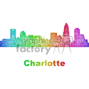 city skyline vector clipart USA Charlotte clipart. Commercial use image # 402687