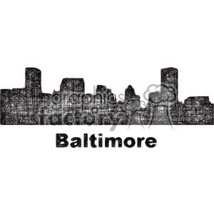black and white city skyline vector clipart USA Baltimore clipart. Commercial use image # 402697