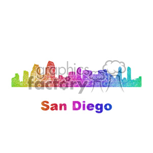 city skyline vector clipart USA San Diego clipart. Commercial use image # 402717