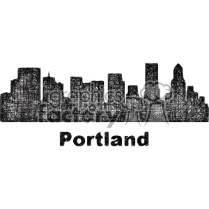 black and white city skyline vector clipart USA Portland clipart. Royalty-free image # 402727