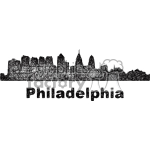 black and white city skyline vector clipart USA Philadelphia clipart. Royalty-free image # 402737