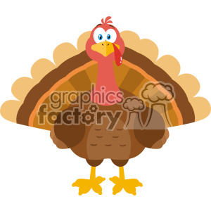 Thanksgiving Turkey Bird Cartoon Mascot Character Vector Flat Design clipart. Royalty-free image # 402744