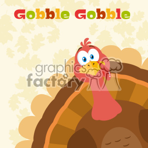 Thanksgiving Turkey Bird Cartoon Mascot Character Peeking From A Corner Vector Flat Design Over Background With Autumn Leaves And Text Gobble Gobble clipart. Royalty-free image # 402749