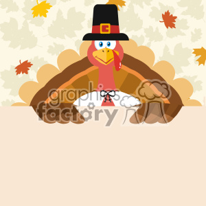 10598 Happy Thanksgiving Turkey Bird Cartoon Mascot Character Holding A Blank Sign Vector Flat Design Over Background With Autumn Leaves clipart. Royalty-free image # 402759