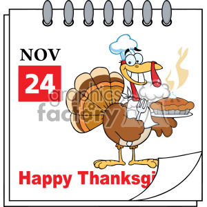 Calendar Page Turkey Chef With Pie Vector clipart. Royalty-free image # 402764