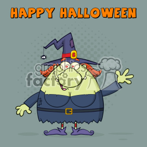 Ugly Witch Cartoon Mascot Character Waving For Greeting Vector With Halftone Background And Text Happy Halloween clipart. Commercial use image # 402769