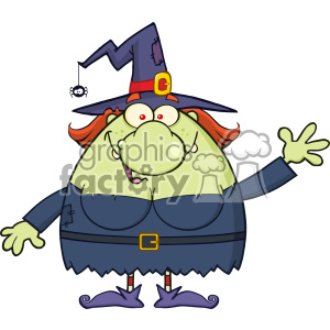 Ugly Witch Cartoon Mascot Character Waving For Greeting Vector clipart. Commercial use image # 402774
