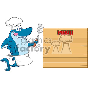 Chef Blue Shark Cartoon Licking His Lips And Holding A Spatula To Wooden Blank Board With Text Menu Vector clipart. Commercial use image # 402784