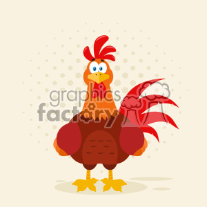 Cute Red Rooster Bird Cartoon Vector Flat Design With Background