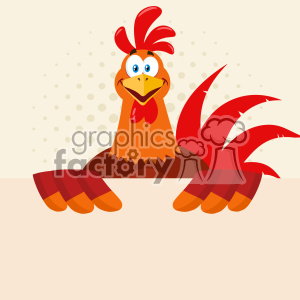 Happy Red Rooster Bird Cartoon Holding A Blank Sign Vector Flat Design With Halftone Background
