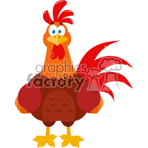 Cute Red Rooster Bird Cartoon Vector Flat Design clipart. Commercial use image # 402804