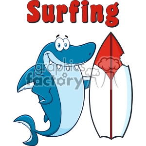 Smiling Blue Shark Cartoon With Surfboard And Text Surfing Vector Vector clipart. Royalty-free image # 402809