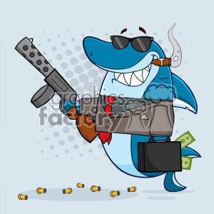 Smiling Shark Gangster Cartoon Carrying A Briefcase Holding A Big Gun And Smoking A Cigar Vector With Gray Halftone Background