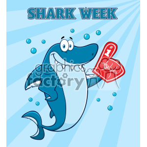Cute Blue Shark Cartoon Wearing A Foam Finger Vector With Blue Sunburs Background And Text Shark Week clipart. Royalty-free image # 402821