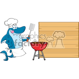 Chef Blue Shark Cartoon Licking His Lips And Holding A Spatula By A Barbeque With Roasted Burgers To Wooden Blank Board Vector Illustration clipart. Commercial use image # 402826