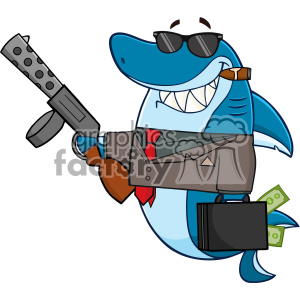 Smiling Shark Gangster Cartoon Carrying A Briefcase Holding A Big Gun And Smoking A Cigar Vector clipart. Royalty-free image # 402831