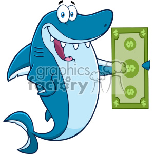 Clipart Happy Blue Shark Cartoon Holding A Dollar Bill Vector clipart. Royalty-free image # 402836